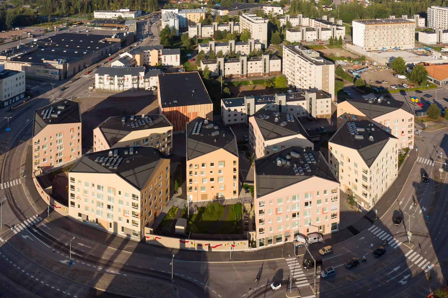 Porvoo Slottsgården ilmakuva korttelista